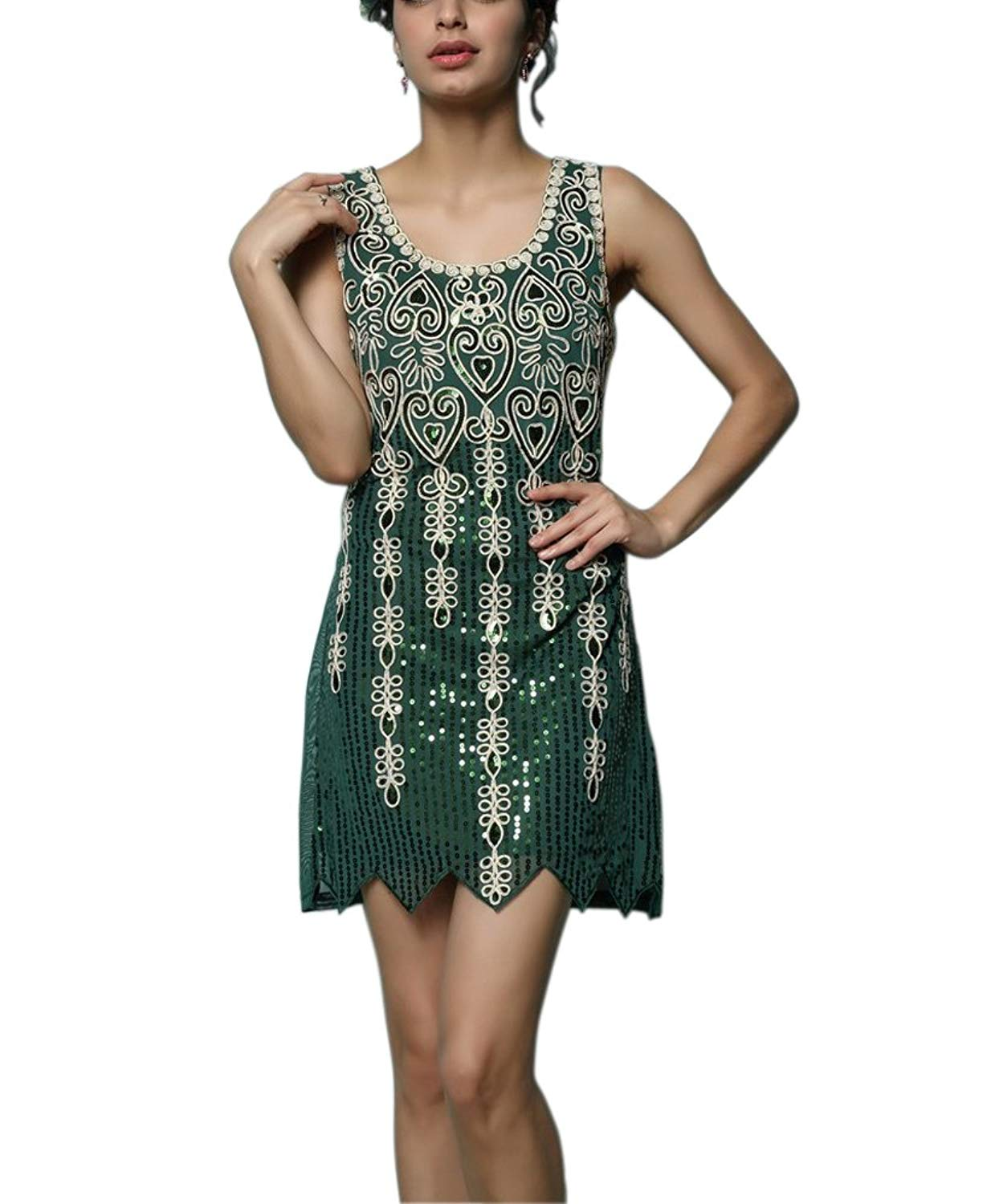 7a57990ac14 Get Quotations · Whitewed Embroideried Sequin Gatsby Flapper Inspired Style  Prom Dresses Costume