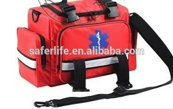 Deluxe Red Ems Emt Emergency Paramedical Supplies Trauma Gear Pack Equipment First Aid Kit Carry Rescue Bag
