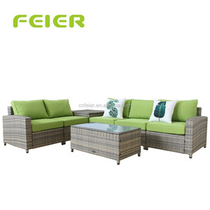 7-Piece All Weather Rattan Wicker Sectional Outdoor Garden Patio Furniture Set, Cream green