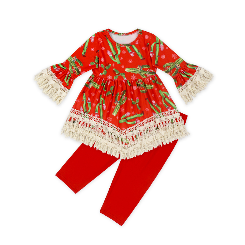Wholesale Kids Red Flamingo Lace Clothes And Striped Bow Leggings Clothing Set In Western Baby Girls Boutique Outfits