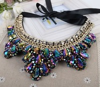 Black Rope Cheap Beaded Collar Necklace