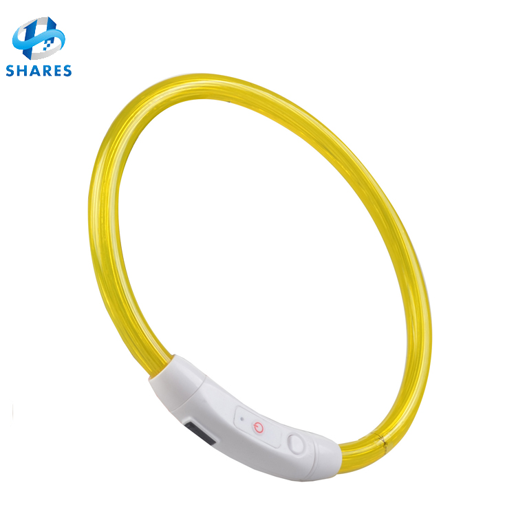 USB Charging Pet Dog Collar Rechargeable LED Tube Flashing Night Dog Collars Glowing Luminous Safety