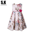 S K High end Clothing 2016 Summer Flowers Printed Girl Dress Wedding with Bow Sleeveless Princess