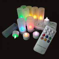 Set of 12 Color changing Remote control LED rechargeable Tealight candle