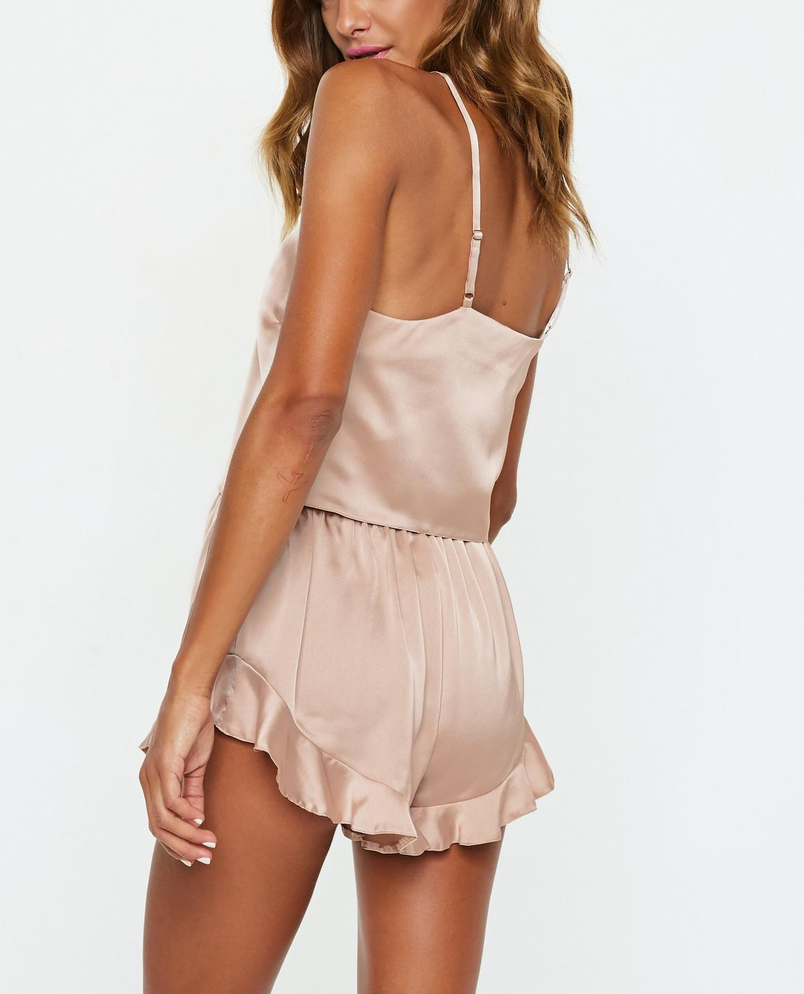 Yüksek kaliteli Cami fırfır kısa saten pijama sevimli yaz pijama bayanlar için