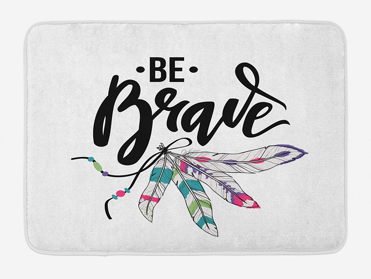 Lunarable Be Brave Bath Mat, Tribal Feathers with Be Brave Saying Bohemian Quote Spiritual Motivation Theme, Plush Bathroom Decor Mat with Non Slip Backing, 29.5 W X 17.5 W Inches, Multicolor