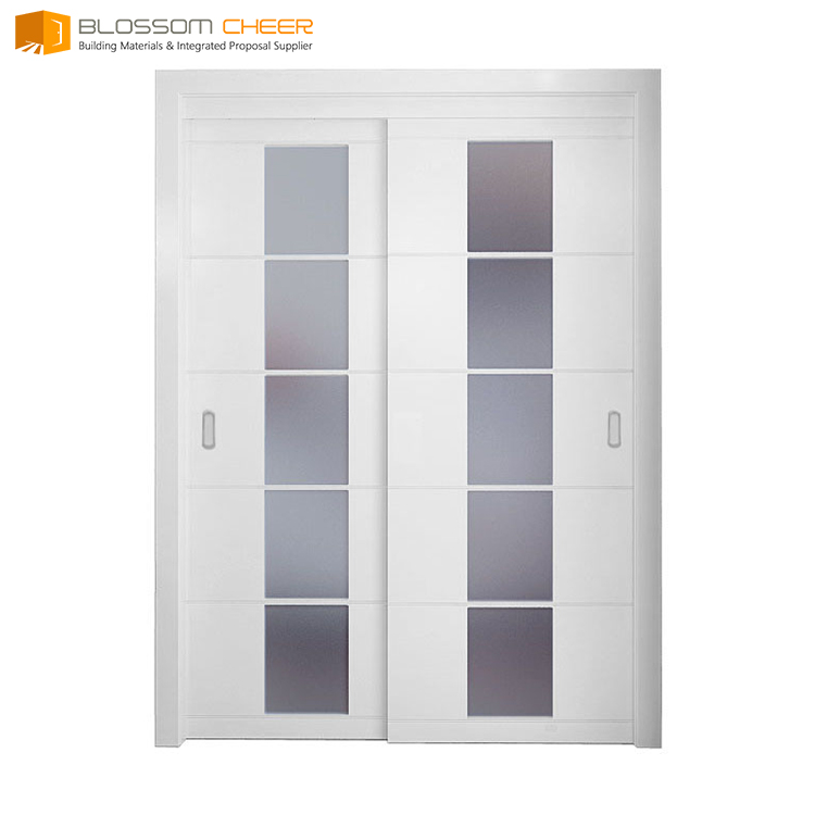 Customized matte solid wood entry sliding inserts glass patio doors