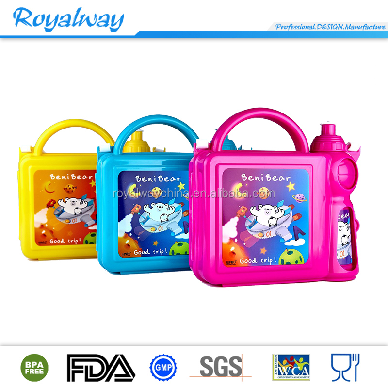100% BPA free portable plastic kids lunch box with water bottle