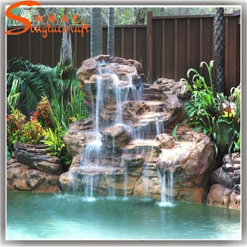 Garden Waterfalls Outdoor Glass Water Wall Fountain Pool Waterfall Fountains