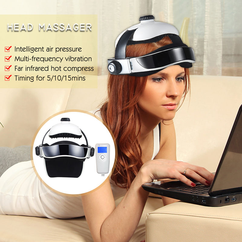 Electric Automatic Eye & Head Massager w Infrared Heat Compression Soothing Music Vibrating Head Massager