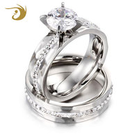 China Jewelry Wholesale White Gold Plated Engagement Ring CZ Diamond Ring