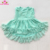 3/4 Sleeve baby lace dress plain color in stock Lace Flowers high quality Girls princess dress with back button