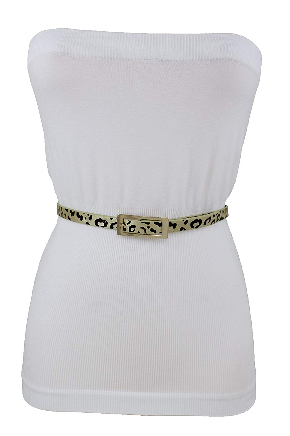 High Waist Leopard Print Belt with Gold Buckle