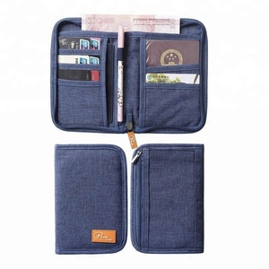 P.Travel Customized Polyester Neck Rfid Blocking Travel Card Document Passport Holder Case