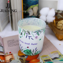Custom decal color paint printing glass containers scented smokeless candle jars