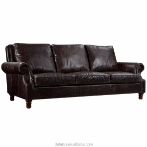 Antique Reproduction European Vintage Leather Solid Wood French sofa furniture HL210-3V