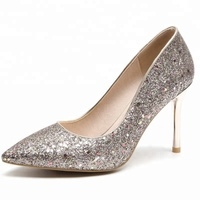 New High Heels Pointed Toe Dress Shoes Pumps Gold Silver Party Wedding Office Ladies Shoes