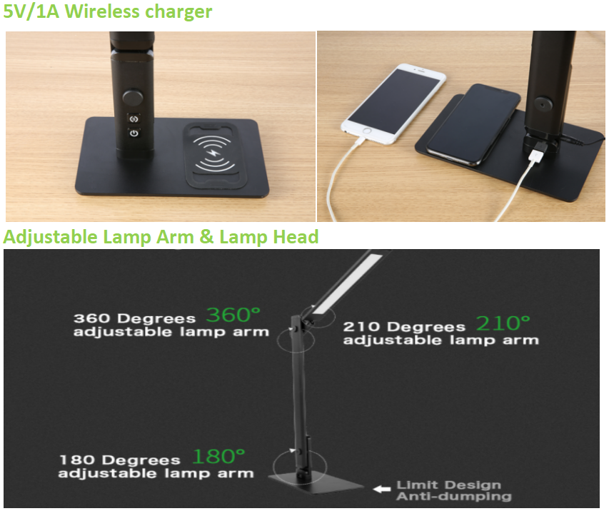 New design office led desk task light 12w MA75C adjustable light angle dimming led table lamp with  wireless charging