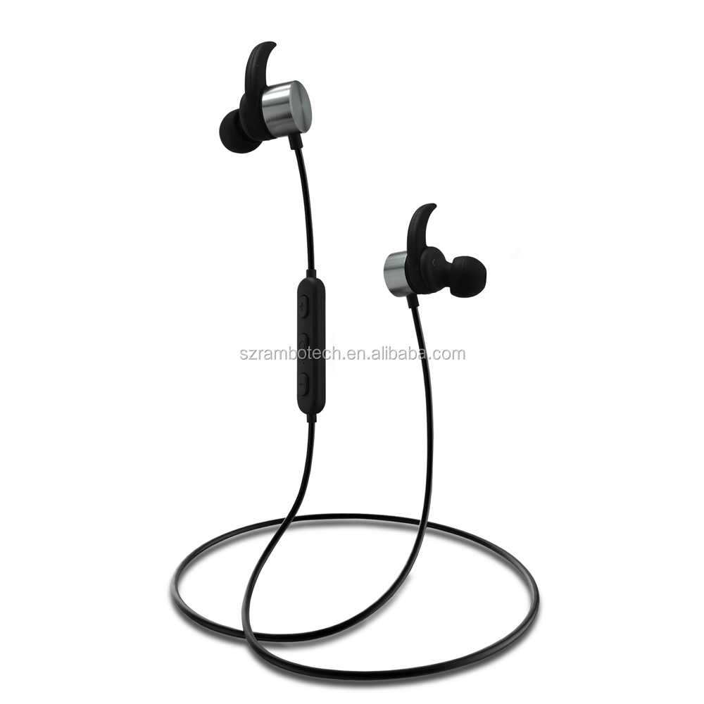 2017 New bluetooth wireless sport earbuds mini bt 4.0 metal sweatproof earpieces magnetic bluetooth earphone for running R1615