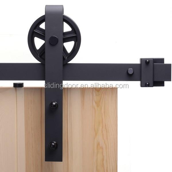 5-16FT Vintage Strap Industrial Wheel Sliding Barn Wood Door Hardware Track Kit