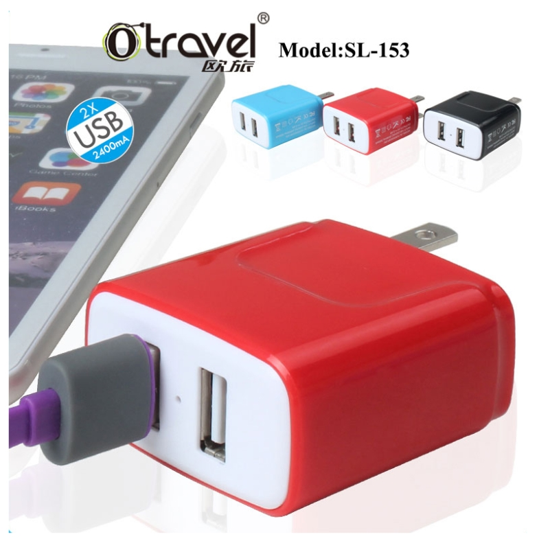 New Products Multifunction Europe Type Plug Dual Usb Ports Universal Wall Travel Adaptor
