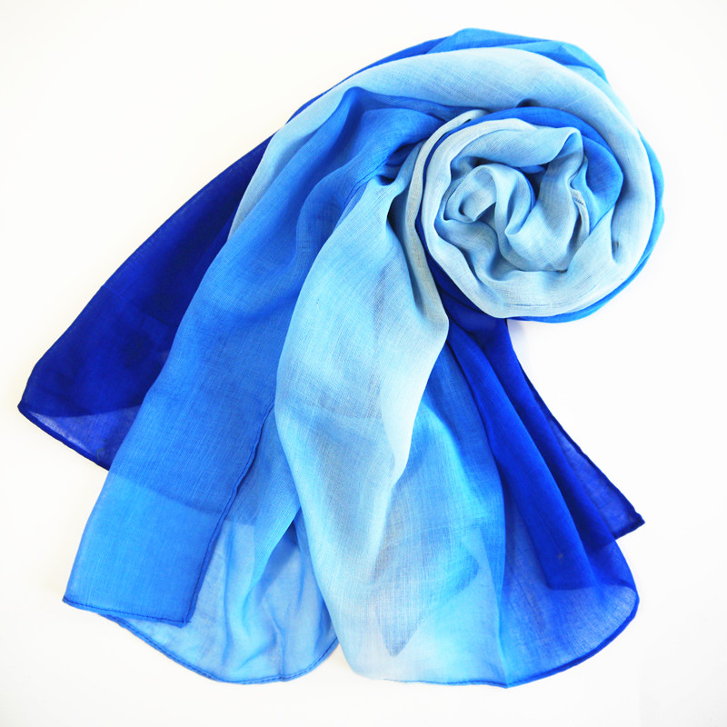 fashion ladies gradient blue color plain polyester large muslim cape tallit prayer shawl for spring autumn winter
