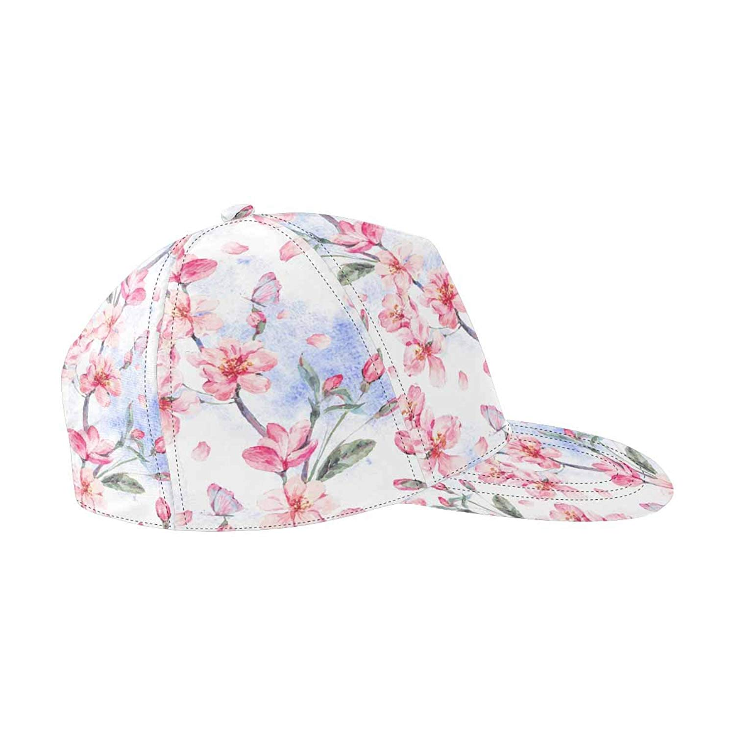 0bd992b0f099a Get Quotations · InterestPrint Pink Flowers Blooming Branches of Cherry Snapback  Hats for Men Hip Hop Hats Flat Brim