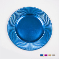 Cheap Wholesale Stylish Plastic Blue Charger Plates