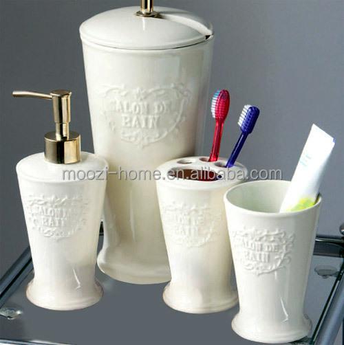 floral printed ceramic bathroom accessory set,fancy bathroom set