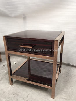 High End Hotel Furniture Stainess Steel Golden Frame Night Stand Bed Side  Table