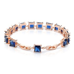 Fashion gold jewelry lady 's india gold plated princess cut cz sapphire tennis bracelet for wedding engagement anniversary