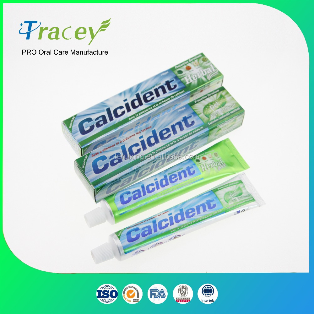 OEM ODM customized Calcident strong mint green gel toothpaste high quality hot sales toothpaste factory