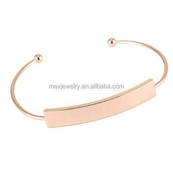 Thin Rose Gold Plated Open Expandable Copper Cuff Bangle Bracelets Blanks