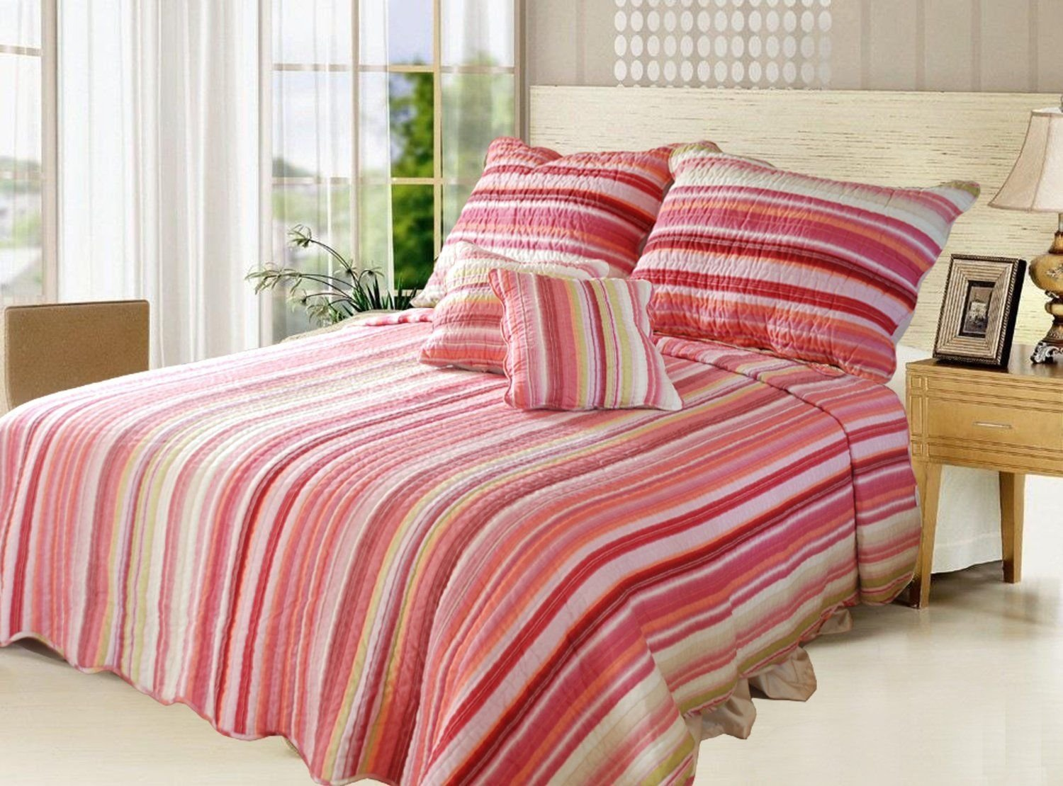 Get Quotations Dada Bedding Reversible Stunning Striped Multi Colored Quilt Bedspread Set Red Pink Stripes