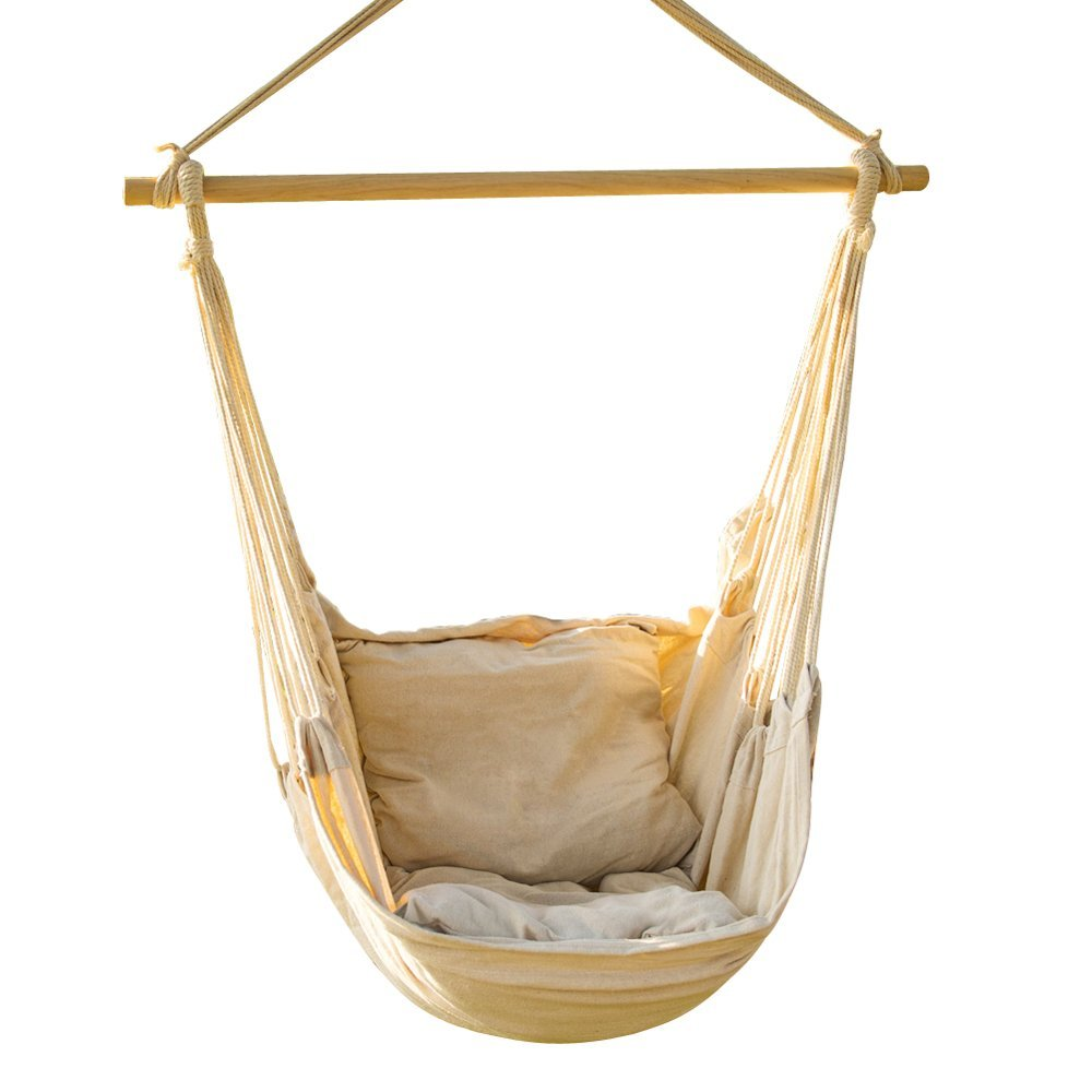 Get Quotations · EverKing Hanging Rope Hammock Chair Porch Swing Seat,  Large Hammock Net Chair Swing, Cotton
