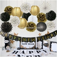 Umiss Paper Happy Banner Chinese Lanterns Tissue Flowers Pom Poms Hanging Fans Decoration New Year