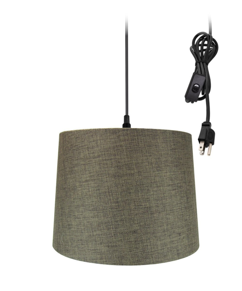 Plug-In Pendant Light By Home Concept - Hanging Swag Lamp Chocolate Burlap Drum Shade - Perfect for apartments, dorms, no wiring needed (Brown, Black One-light)