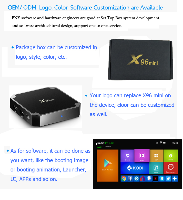 Hottest X96 mini Android 7.1.2 Amlogic S905W Quad-Core oem tv box H.265 / 2.4GHz WiFi H.265 Smart Media Player