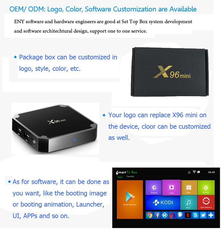 Amlogic S905W X96 mini Android 7.1.2 android tv box free movies tv box codi download user manual for tv box