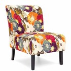 Amazon top selling contemporary Wingback floral pattern fabric side accent chair with wooden legs