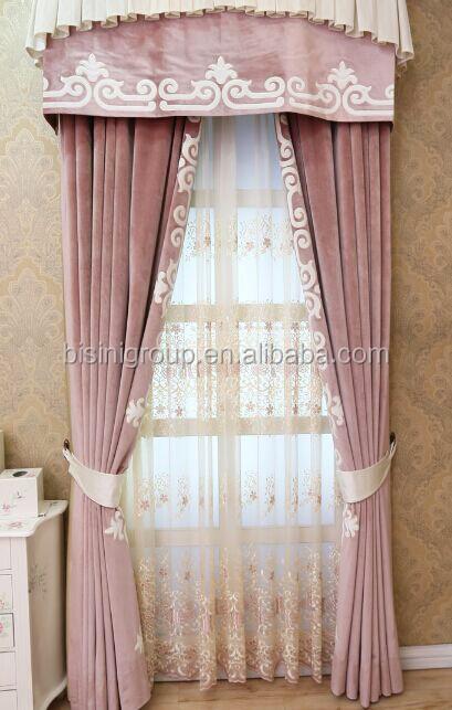 int rieur grandeur classique romantique princesse style floral rose velours rideaux avec. Black Bedroom Furniture Sets. Home Design Ideas