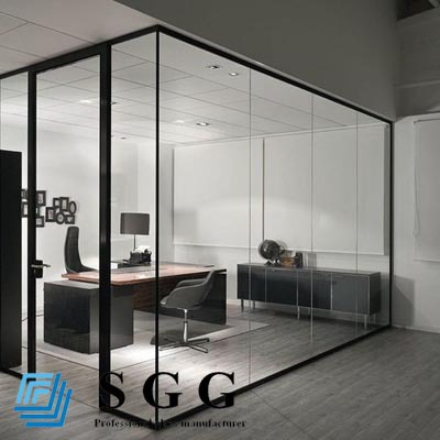 Soundproof Glass Partition Clear Glass Wall Toughened