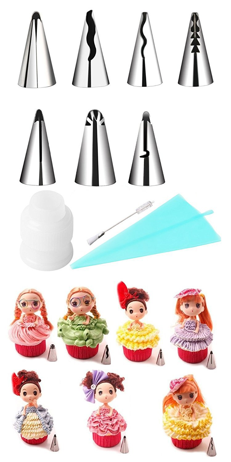 KOOTIPS Russian Piping Tips 10Pcs/set, 7pcs Tips 1 Adapter 1pc Brush 1pc Silicone Bag Stainless Steel Decoration Tips Korean Bobbi Skirt Icing Tips Set Cake Decorating Supplies