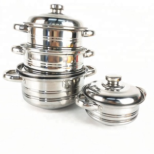 mail orders Promotion gift 6pcs/8pcs Kitchen Accessories Stainless Steel Cookware Set / Cooking Pot / Stock Pot Set
