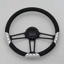 "china 14"" Black Billet Steering Wheel with Full Leather Wrap and Horn Button"
