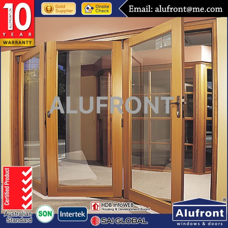 high quality aluminium clad wood glass bi folding window