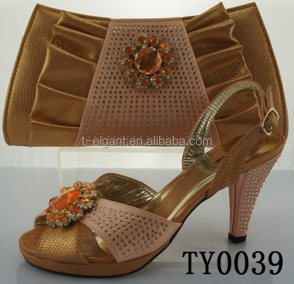 Unique design peach color italian matching shoes and bags ladies for party and wedding