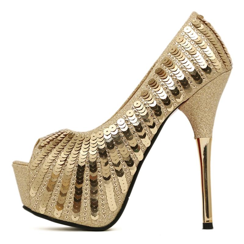 9bfe04e8998 Get Quotations · Hot 2015 Women Peep toe Sandals Summer style sexy Gold  High Heels Sequined Glitter Platform Pumps