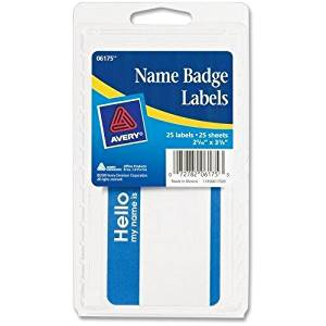 """Avery Name Badge Labels,""""Hello"""",2-11/32""""x3-3/8"""",25/PK, Blue (06175)"""