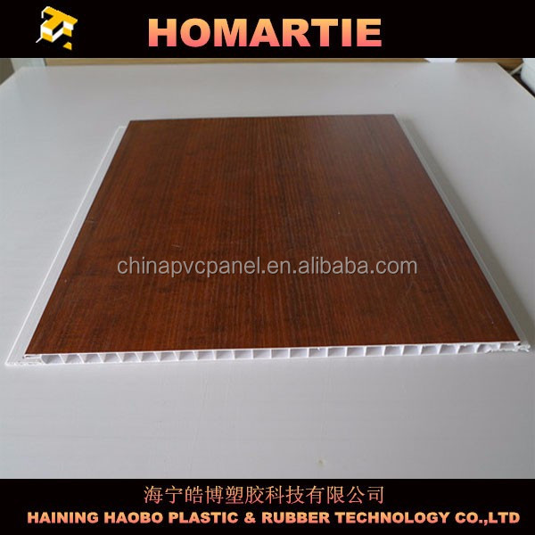 25cm pvc ceiling panel laminated finishing 7mm thickness wood color